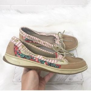 {Sperry} Floral & Striped Classic Boat Shoe Flats